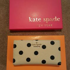 NWT Polka Dot Wallet This one is a gem! Brand new Kate Spade Wall cedar street dot wallet! Comes with box and original tissue. kate spade Bags Wallets