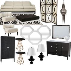 The contrast of black and white is popular in interiors right now - when used appropriately this color combination can make a very bold statement in a room. #livingroom #black #white #moderndesign #interiordesign #homedecor www.panachedesign.co
