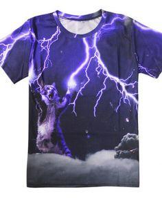 1976f44cecb2 3D lightning cat t shirt for men short sleeve creative t shirts Wolf T Shirt