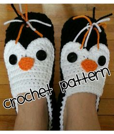 Crochet Penguin Slippers Custom Made by TeriandNicole on Etsy Crochet Chain Stitch, Basic Crochet Stitches, Crochet Basics, Knit Crochet, Crochet Patterns, Crochet Hats, Crochet Penguin, Crochet Instructions, Crochet Slippers