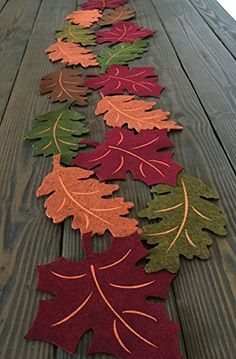 Autumn Colors Harvest Fall Leaves Felt Table Runner – - Famous Last Words Table Runner And Placemats, Table Runner Pattern, Quilted Table Runners, Thanksgiving Crafts, Thanksgiving Decorations, Halloween Decorations, Felt Christmas, Christmas Crafts, Felt Crafts