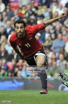 Mohamed Salah of Egypt celebrates scoring a goal during the Men's Football first round Group C Match between Egypt and New Zealand on Day 2 of the...