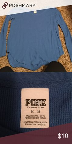 Blue Pink thermal underwear long sleeved tee Blue pink thermal underwear long sleeved tee PINK Victoria's Secret Tops Tees - Long Sleeve
