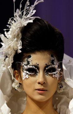 Black,  White, Fantasy Makeup, Flowers, masquerade look, fashion, designs, creative, makeup, eye makeup, artistic