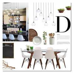 """Dining with Wood"" by fyenksfiona ❤ liked on Polyvore featuring interior, interiors, interior design, home, home decor, interior decorating, Universal Lighting and Decor, CB2, NDI and H&M"