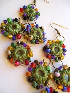 Crocheted earrings Knitting TechniquesKnitting For KidsCrochet Hair StylesCrochet Amigurumi Crochet Jewelry Patterns, Crochet Earrings Pattern, Crochet Bracelet, Crochet Accessories, Textile Jewelry, Fabric Jewelry, Jewellery, Jewelry Shop, Crochet Gifts