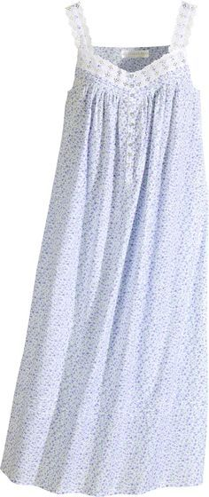 Cool cotton nightgown by designer Eileen West inspired by a stroll through a field of lavender. Cotton nightgown features eyelet cotton lace, pintucking and shell buttons. Night Suit, Night Gown, Cotton Nighties, Cotton Lace, Plus Sise, Nightgown Pattern, Pyjamas, Nightgowns For Women, Lingerie Sleepwear