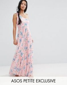 ASOS PETITE - Robe longue asymétrique plissée imprimé floral