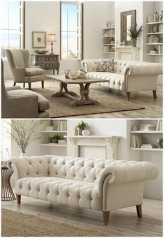 Plush tufting on seat, back and arms paired with luxe nailhead trim produces a French style sofa thats chic and sleek. Living Room Sofa Design, Living Room Decor Cozy, Elegant Living Room, Elegant Home Decor, Formal Living Rooms, Home Living Room, Living Room Furniture, Living Room Designs, Brown Furniture