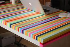 Mesa decorada com fitas coloridas – fácil e fantástico