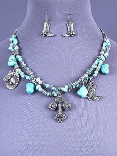 Chunky Rhinestone Cross Charm Necklace & Earring Set