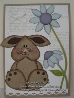 Stampin' Up! ... handcrafted Easter card from Stampin Fantastic ... punch art chocolate punny and flowers ... heart head and petal paws ... adorable