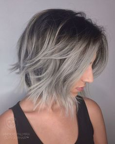 Ombre, Balayage Lob Hairstyle for Fine Hair