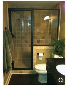 20 Beautiful Small Bathroom Ideas | 50th, Shower rod and Glass doors
