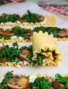 Mushroom lasagna roll-ups in creamy Gorgonzola cauliflower sauce - # creamy . - Mushroom Lasagna Roll-Ups in Creamy Gorgonzola Cauliflower Sauce – - Veggie Recipes, Pasta Recipes, Dinner Recipes, Cooking Recipes, Healthy Recipes, Mushroom Recipes, Sauce Recipes, Cooking Ideas, Cooking Icon