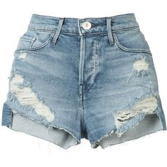 3X1 ripped denim shorts ($350) ❤ liked on Polyvore featuring shorts, bottoms, pants, blue, destroyed shorts, blue shorts, torn jean shorts, denim short shorts and denim shorts