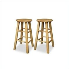 Natural Wood Framed Counter Stools, Set of 2