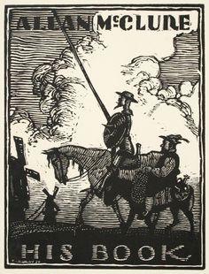 Ex Libris Don Quixote, for Allan McClure, by W. Mattony, 1930