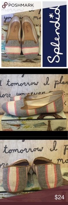 Splended canvas summer stripe loafers shoes 8.5 Size 8.5 M Worn a few times. A few dirt smudges on the front right toe as shownnin the photo. In otherwise great condition. Splendid Shoes Flats & Loafers