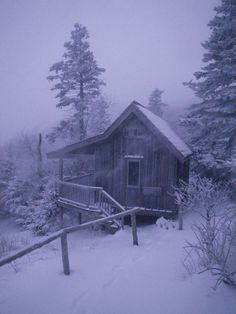 A Mt. LeConte cabin in the winter.