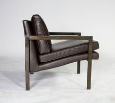 Milo Baughman Bronze and Leather Lounge Chair image 5