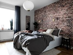 Exposed brick wallpaper I have some in my home, and love it. We get so many comments on it too! Brick Wall Bedroom, Brick Accent Walls, Accent Wall Bedroom, Bedroom Decor, Brick Wallpaper Bedroom, Exposed Brick Bedroom, Brick Room, Master Bedroom, Bedroom Ideas