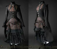 Outfit: Coat: http://draculaclothing.com/index.php/black-ega-coat.html Skirt: http://draculaclothing.com/index.php/steampunk-layer-bustle-skirt-p-1710.html Blouse: http://draculaclothing.com/index.php/steampunk-buckle-blouse-p-1719.html