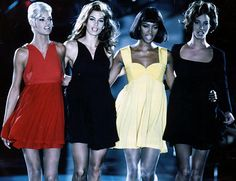 The original supermodels (Linda Evangelista, Cindy Crawford, Naomi Campbell and Christy Turlington) walk for Gianni Versace