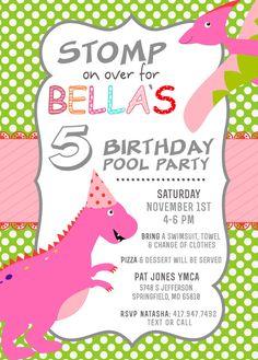 Girls dinosaur birthday invitation party invites pink purple and dinosaur birthday invite girls birthday invite by positivelyparty filmwisefo