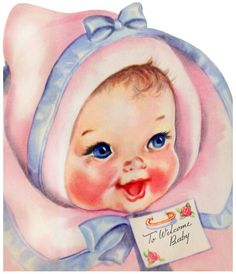 Vintage welcome baby card, so adorable:-)