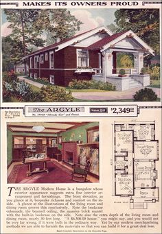 The Argyle - 1923 Sears Roebuck Modern Homes - The Argyle is a pleasing small bungalow with two bedrooms and a easy living floor plan. Its exposed beams, rafter tails, elaborated verge boards, and built-ins make even the small Sears kit houses as desirabl Small Bungalow, Bungalow Homes, Craftsman Style Homes, Craftsman Bungalows, Craftsman Bungalow House Plans, Craftsman Kitchen, Small House Plans, House Floor Plans, Style At Home