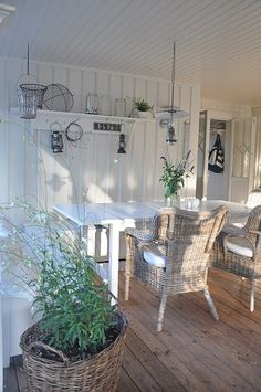 white-contrasted with the green of the plants and blue of the sunlight, wicker, and paneled walls