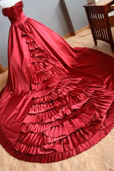 The breathtaking pleated train on an utterly stunning Red wedding dress that I worked on for a beautiful bride last Spring.