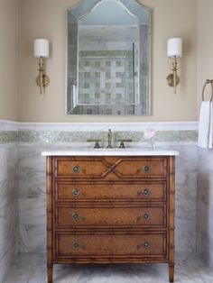 powder room with repurposed antique commode chest with marble top as bath vanity sink powder