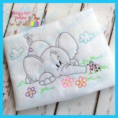 Diseño de bordado de máquina de trabajo de elefante 2 por MommaMC Baby Embroidery, Hand Embroidery Stitches, Machine Embroidery Patterns, Hand Embroidery Designs, Vintage Embroidery, Embroidery Techniques, Embroidery Files, Applique Designs, Embroidery Sampler