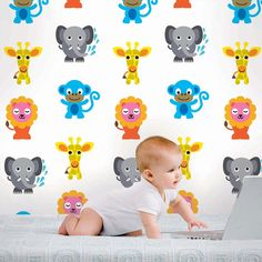 French Bull Jungle Party Removable Wallpaper