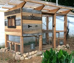 Recycled barn wood creates a rustic look on this backyard chicken coop.
