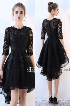 Lace Half Sleeve High Low Black Prom Dress at Shop thousands of dresses ran. Trendy Dresses, Nice Dresses, Short Dresses, Fashion Dresses, Dresses With Sleeves, Sleeve Dresses, Chiffon Dresses, Fall Dresses, Half Sleeves