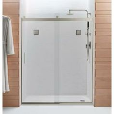 KOHLER Levity 60-1/4 in. x 74 in. Frameless Bypass Shower Door with Handle in Nickel-706009-L-MX at The Home Depot