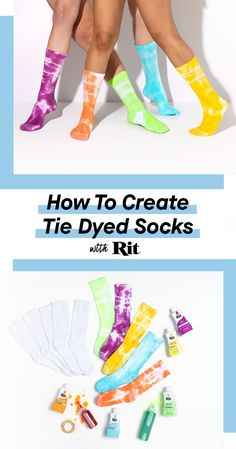 Tie Dyed Socks Add some unique bursts of color to your socks with this easy DIY below. If you haven't heard, tie dye is back! So why not extend the trend to everything you own? Rock these trippy prints from the festival grounds to all around town. Fête Tie Dye, Tie Dye Party, How To Tie Dye, Tie And Dye, Diy Tie Dye With Rit, Diy Tie Dye Socks, Diy Tie Dye Shirts, Diy Shirt, Diy Tank