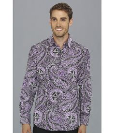 This is beautifully made - look at how that gigantic paisley pattern is matched up across the front closure. I am duly impressed. Mens Printed Shirts, Men's Shirts, Robert Graham, Paisley Pattern, Closure, Shirt Dress, Purple, Mens Tops, Clothes