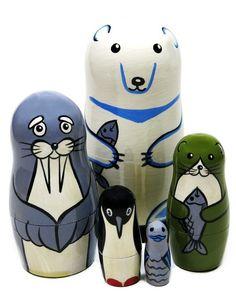 Polar Bear and Aquatic Animals Russian Nesting Doll Wooden Stacking Toy Polar Animals, Polar Bear, Animals And Pets, Stacking Toys, Animal Habitats, Wooden Animals, Animal Species, Educational Toys For Kids, Child Love