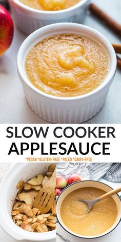 This Slow Cooker Applesauce recipe is easy to make in the crockpot and only uses 5 ingredients! You can make it chunky, smooth or any way in between. Everyone will love this healthy and satisfying snack for fall. A fun and yummy way to use up all those apples from apple picking at the apple orchard! Freezer-friendly, vegan, gluten-free, dairy-free, paleo, refined sugar-free and easily Whole30. Delicious Crockpot Recipes, Delicious Breakfast Recipes, Breakfast Snacks, Best Dessert Recipes, Fun Desserts, Yummy Food, Breakfast Ideas, Yummy Recipes, Dinner Recipes