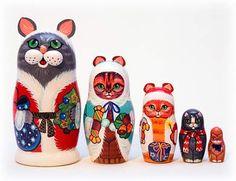 Christmas cat nesting dolls