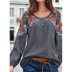 Plus Size Long Sleeve Cotton-Blend Crew Neck Plain Tops - fabric arts embroidery sweets embroidery inspiration embroidery beautiful Plain Tops, Plain Shirts, Loose Shirts, Long Sleeve Tops, Long Sleeve Shirts, Bohemian Tops, Bohemian Blouses, Mode Style, Types Of Sleeves