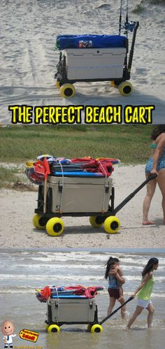 This Beach Sports cart has our special all-terrain wheels that enables the carts to be used in salt water, lake water, deep sand, mud Salt And Water, Fresh Water, Beach Wagon, Pull Wagon, Beach Cart, Mighty Max, Beach Hacks, Lake Water, I Love The Beach