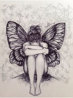Large in fairy drawings Fairy Drawings, Dark Art Drawings, Pencil Art Drawings, Art Drawings Sketches, Cool Drawings, Butterfly Drawing, Art Sketchbook, Painting & Drawing, Illustration Art