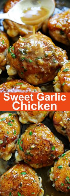 Sweet Garlic Chicken - best garlic chicken recipe ever, sweetened with brown sugar. Made in skillet and takes 20 minutes from prep to dinner table | rasamalaysia.com