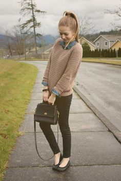 """I really like these """"sweater over collared shirts"""" Could still do it in spring…"""