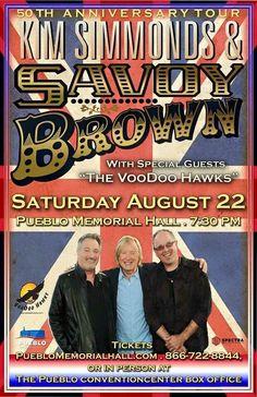 Savoy Brown & The Voodoo Hawks concert poster. Pueblo Memorial Auditorium